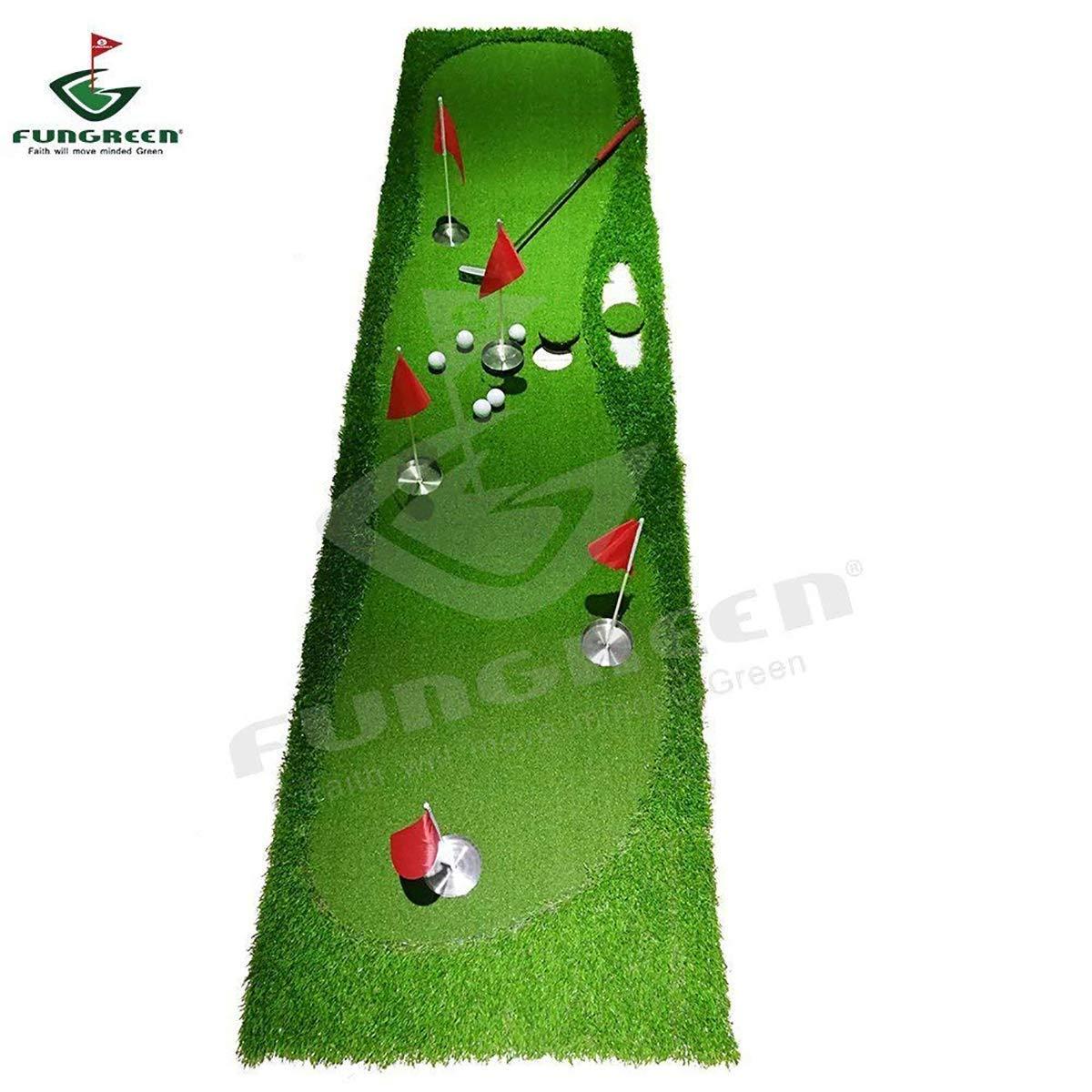 FUNGREEN ゴルフパッティング5穴 グリーン 75x300cm 屋内 屋外 トレーニング パターマット 興味深い練習 ゴルフパッティングパッド 3つのバージョン 標準ファミリー デラックススタイル  スタンダード B07CG31DH7