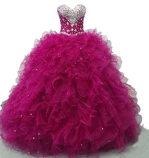 f5ee27877b3 Diandiai Sweetheart Quinceanera Dress Beads Ruffles Ball Gown Prom Dress  Fuchsia 2