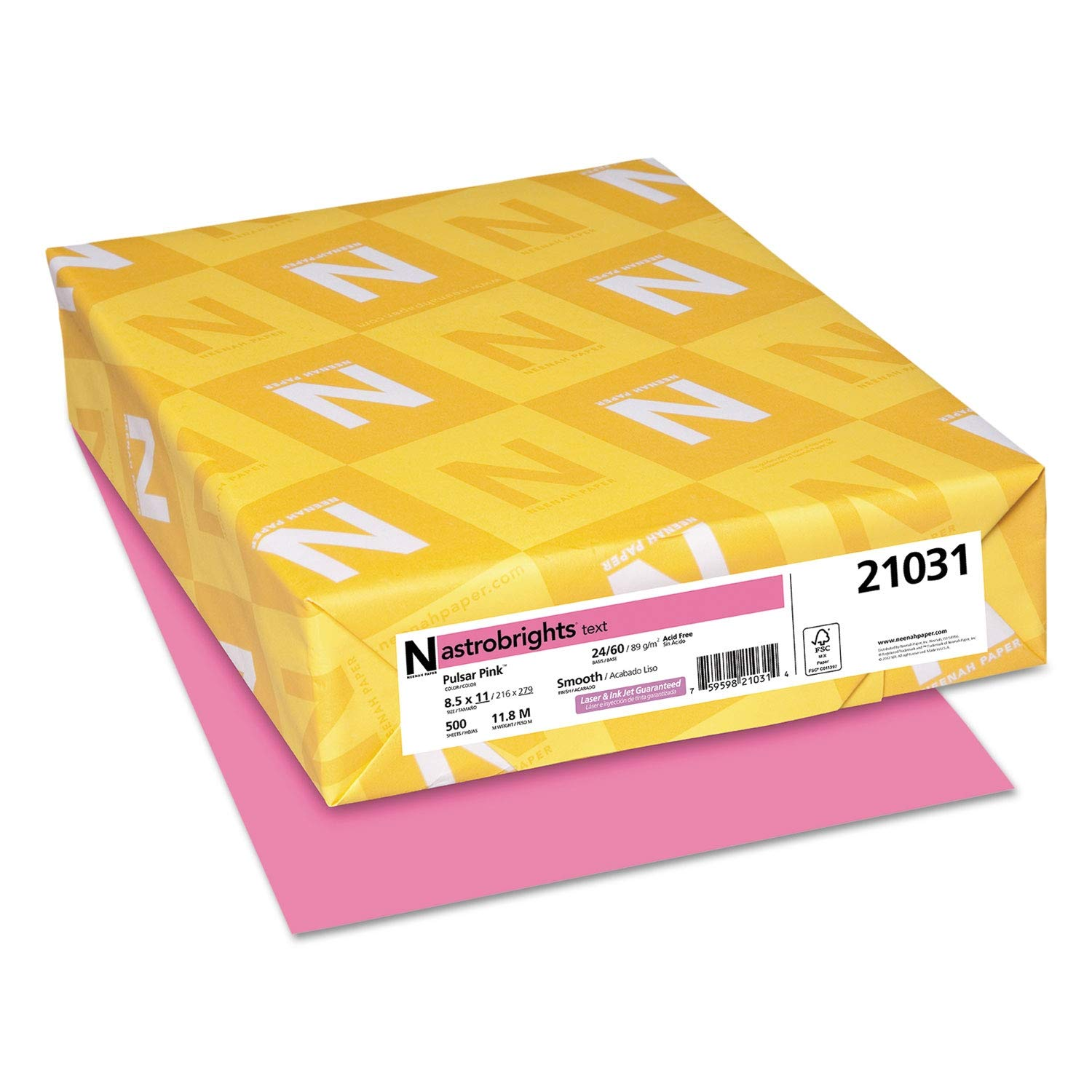 Astrobrights Color Paper, 24lb, 8 1/2 x 11, Pulsar Pink, 500 Sheets - 21031 (Pack of 2)
