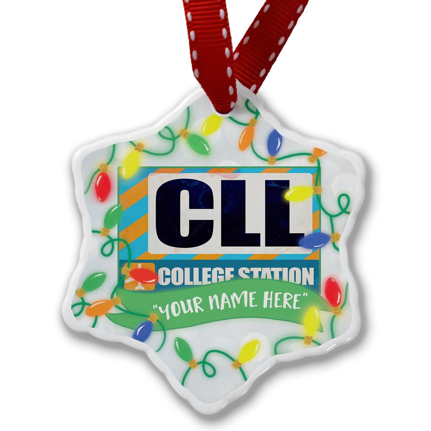 Personalized Name Christmas Ornament, Airportcode CLL College Station NEONBLOND