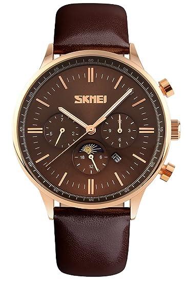 SKMEI Hombre Reloj de pulsera piel Rose Oro elegante clásica Hombres Lujo anlaog Reloj de cuarzo