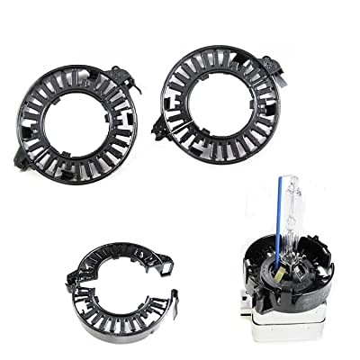 Xotic Tech 1 Pair D1S D3S HID Bulbs Holders Clip Rings Retainers Adapters for Audi BMW Mercedes Cadillac Lincoln Jaguar, etc: Automotive