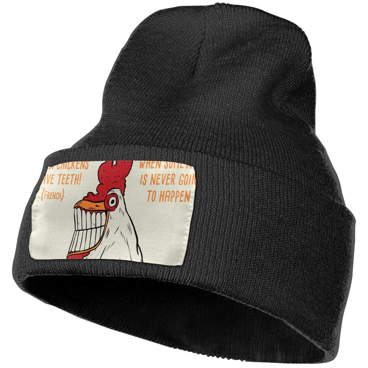 When Checkens Have Teeth Hat for Men and Women Winter Warm Hats Knit Slouchy Thick Skull Cap