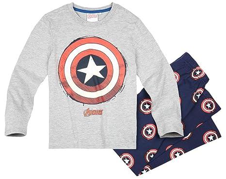 40b6d1811a766 Avengers Pyjama Long Enfant garçon Captain America Gris/Marine de 6 à 12ans  (8