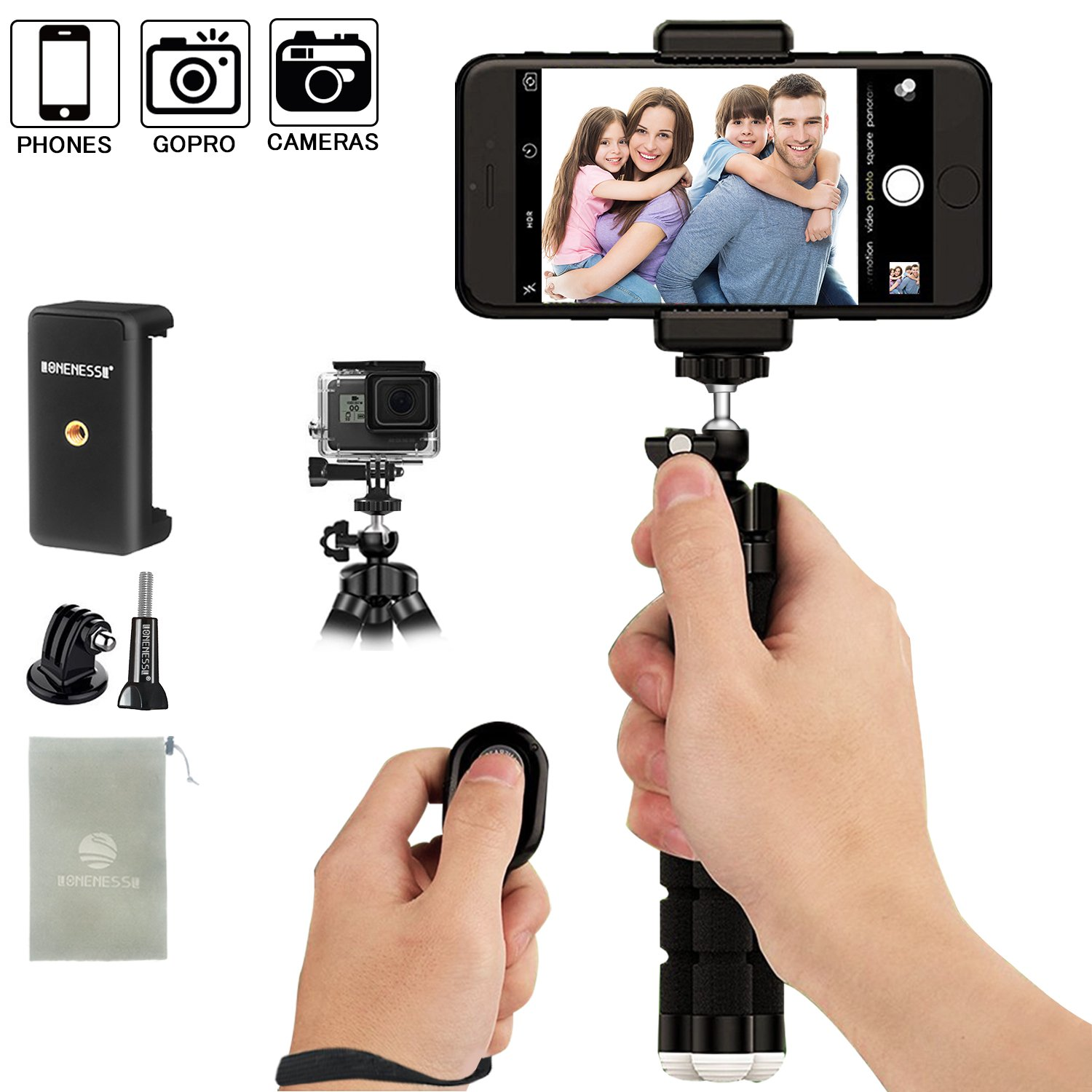 Lonenessl I Phone Tripod Phone Tripod, Bold And Strong Tripod Legs,Mini Cell Phone Tripod Camera Stand Holder And Universal Clip For I Phone Stand With Bluetooth Remote For I Os Android Smartphone by Lonenessl