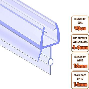 Junta para mamparas de bañeras y duchas de cristal de 4-6 mm, evita las fugas