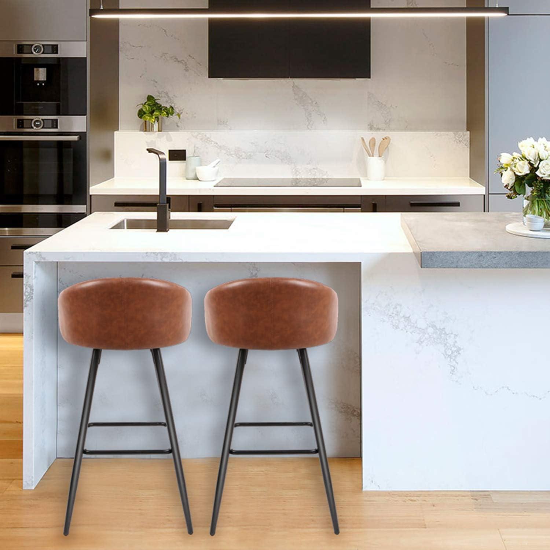 Design Vintage CASATOCA Set di 2 Sedia da Bar Scuro Gambe in Metallo Sedia da Cucina Superficie di PU Seduta Fissa con Poggiapiedi Sgabelli da Bar