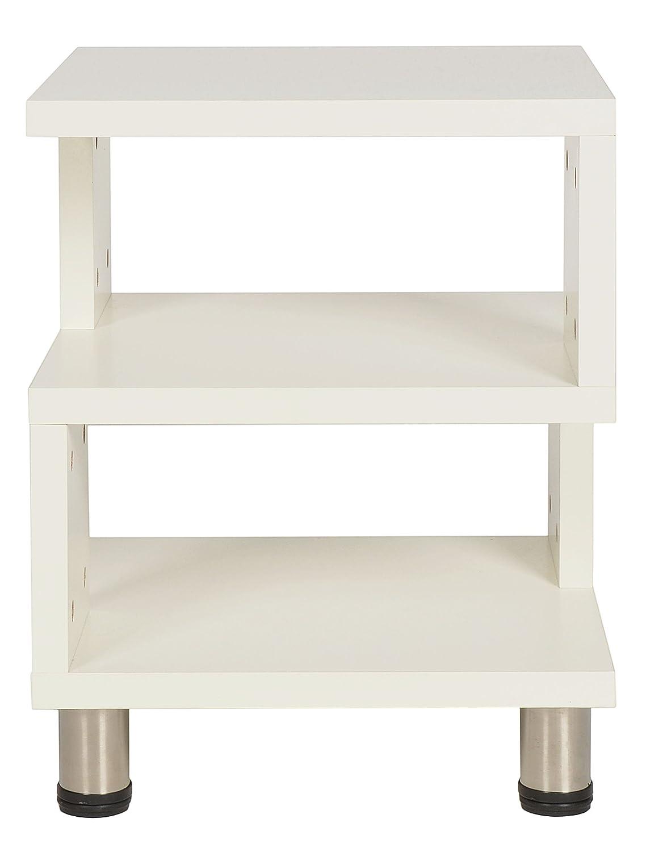 ts-ideen Comodino Tavolino Mensola da appoggio 3 ripiani altezza regolabile. Bianco 11412