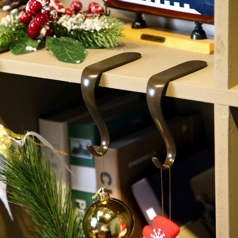 Color Bronce, 2 Colgador de Media de Navidad Soporte de Manto de Chimenea Gancho de Metal de Calcet/ín Juego de Agarre de Manto Guirnalda de Chimenea