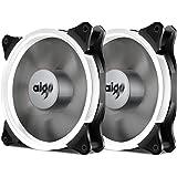 Aigo Halo Ring Fan 140mm Case Fan Quiet Edition High Airflow Adjustable Color LED Case Fan for PC Cases