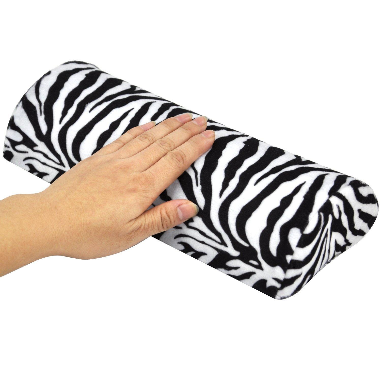 TRIXES Cojín para Descanso de Mano Salón Manicura Pedicura Estampado Zebra