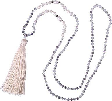 Amazon Com Kelitch New Long Tassel Strands Necklace Pearl Crystal