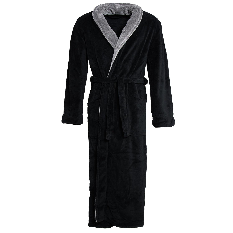 Genuwin Mens Warm Fleece Robe with Hood Full Length Warm Lounge Robe Loungewear