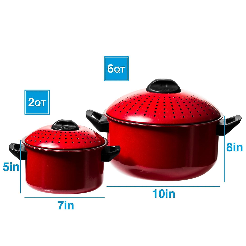 6 Qt /& 2 Qt Black Stock Pot or Pasta Cooker 2 Pc Chef Quality Pasta Pot with Strainer Lid