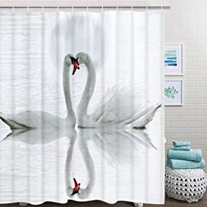 Abaysto Swan in The Lake White Swan Loves Bathroom Decor Shower Curtain Sets with Hooks Polyester Fabric Great Gift