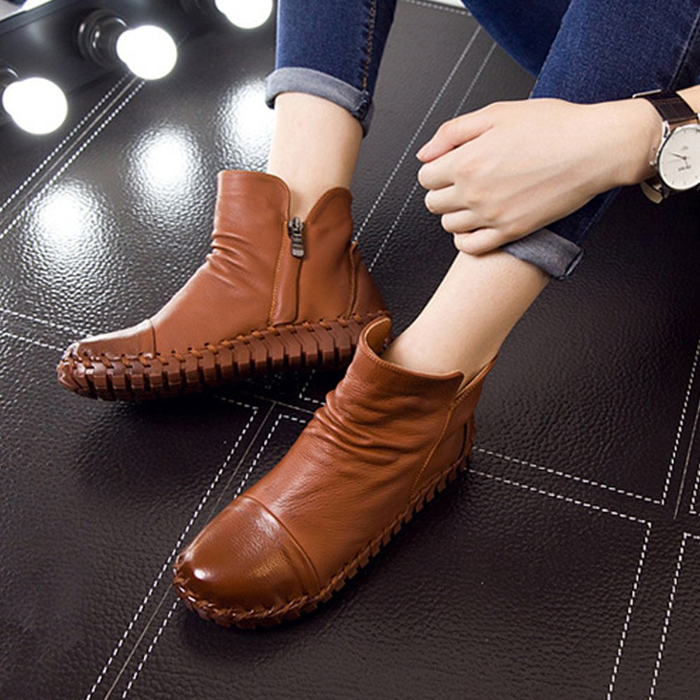 Mordenmiss Women's New Fall Winter Martin Flat Plain Toe Boots-Style 2-39-Camel by Mordenmiss (Image #3)
