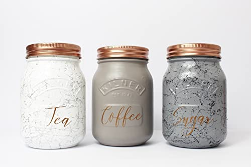 Marble Set Of 3 Tea Coffee Sugar Canisters Copper Kilner Jar Kitchen Storage Jars Marble Storage Kitchen Storage Food Storage