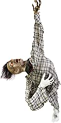 """Halloween Haunters 56"""" Hanging Animated Ghoul Torso Prop Decoration - Head Turns, Arms Move, Red Evil Eyes, Skeleton - Battery Operated"""