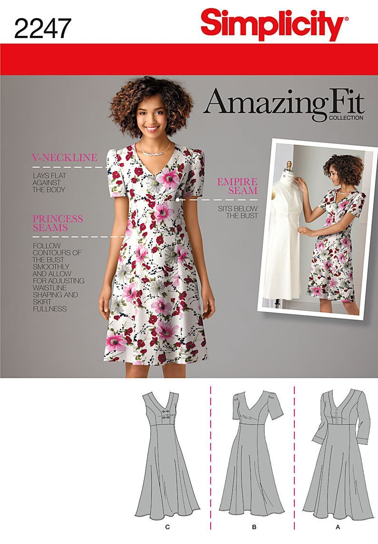 Simplicity 2247Women's & Plus Size Amazing Fit Dresses, Paper, White, BB (20W-28W)