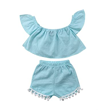 cf09c09848ede Amazon.com: Toddler Baby Girl Kid Cute Off Shoulder T-Shirt Fly Short Sleeve  Tank Crop Tops Vest Tassel Shorts Pants Outfit: Clothing