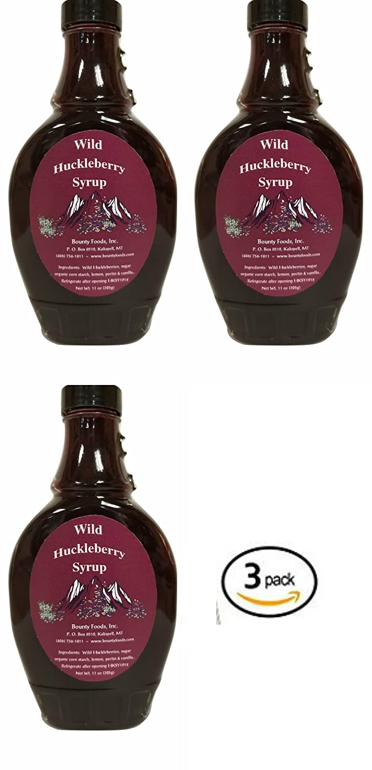 Montana Huckleberry Syrup Breakfast Toppings - (3) 11 oz Gift Set - Real Fruit Grown & Hand Picked in the Wild from Bounty Foods for Cocktails - Coffee -Pancakes - Gluten-Free Non-GMO (H SY 3pk)