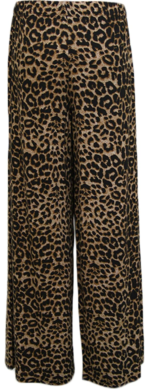 WearAll Womens Animal Leopard Print Palazzo Wide Leg Trousers
