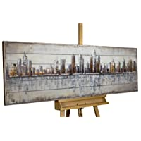 KunstLoft Stravagante quadro di legno rilievo Next Stop: USA' 150x50x5cm | Decorazione parete XXL design fatta a mano | Città Skyline USA Acqua | Murale dipinto arte moderna