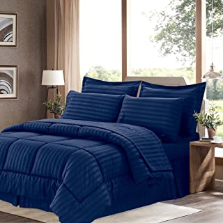 Sweet Home Collection 8 Piece Bed In A Bag with Dobby Stripe Comforter, Sheet Set, Bed Skirt, and Sham Set - King - Navy