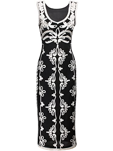 Vijiv 1920s Vintage Black White Tapework V Neck Art Deco Evening Party Dress
