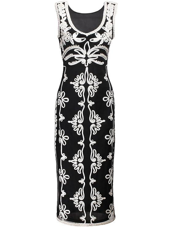 Amazon.com: Vijiv 1920s Vintage V Neck Embroidered Embellished Long ...