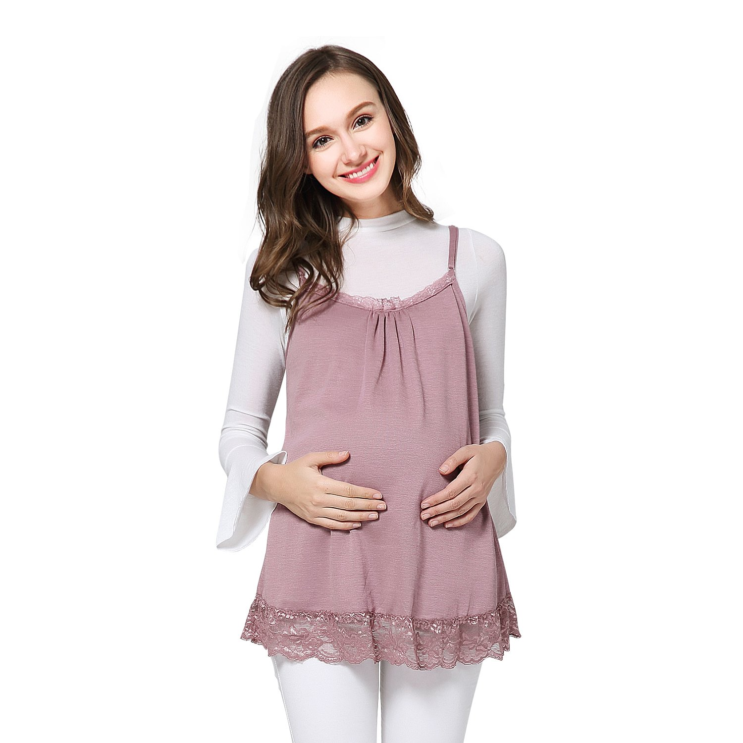 JOYNCLEON Anti-Radiation Maternity Tank Top Camisole 100% Silver Fiber Pregnancy Protection Shield Clothes Lace For Women (Medium, Pink)