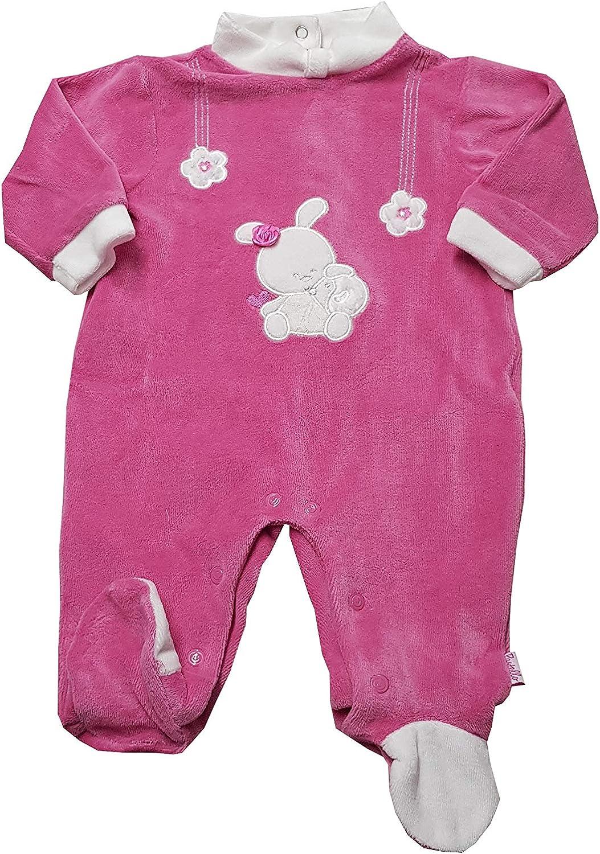 PASTELLO Tutina in ciniglia da femminuccia con piedini corredino per neonata TC001Z GELSO, 0-1 MESE