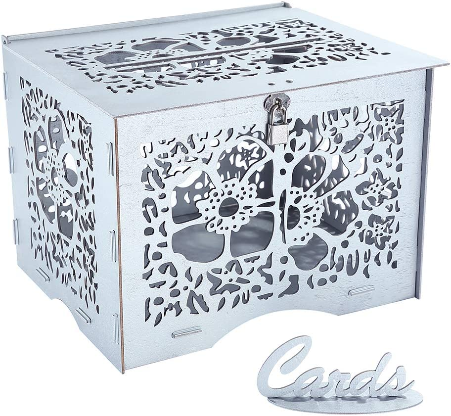 Benjia - Tarjetas de regalo de boda con soporte para poste de dinero, cajas de sobres de madera rústicas grandes con cerradura y ranura para recepción, aniversario, fiesta de cumpleaños plata