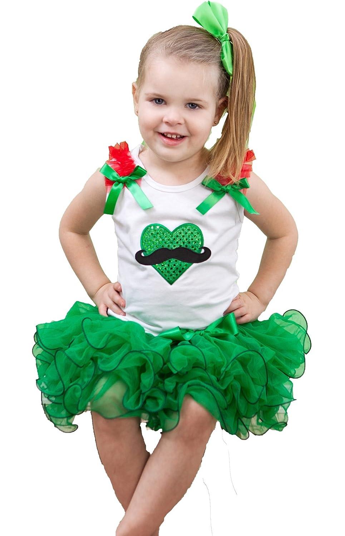 St Patrick Day Dress Beard Heart White Shirt Kelly Green Petal Skirt Set Nb-8y