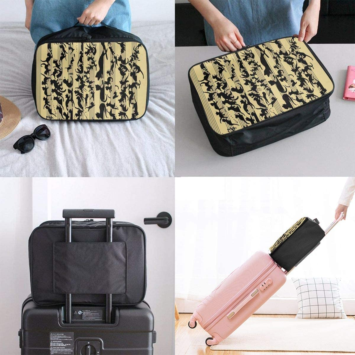 Travel Bags Black Funny Cat Music Musical Note Portable Tote Trolley Handle Luggage Bag