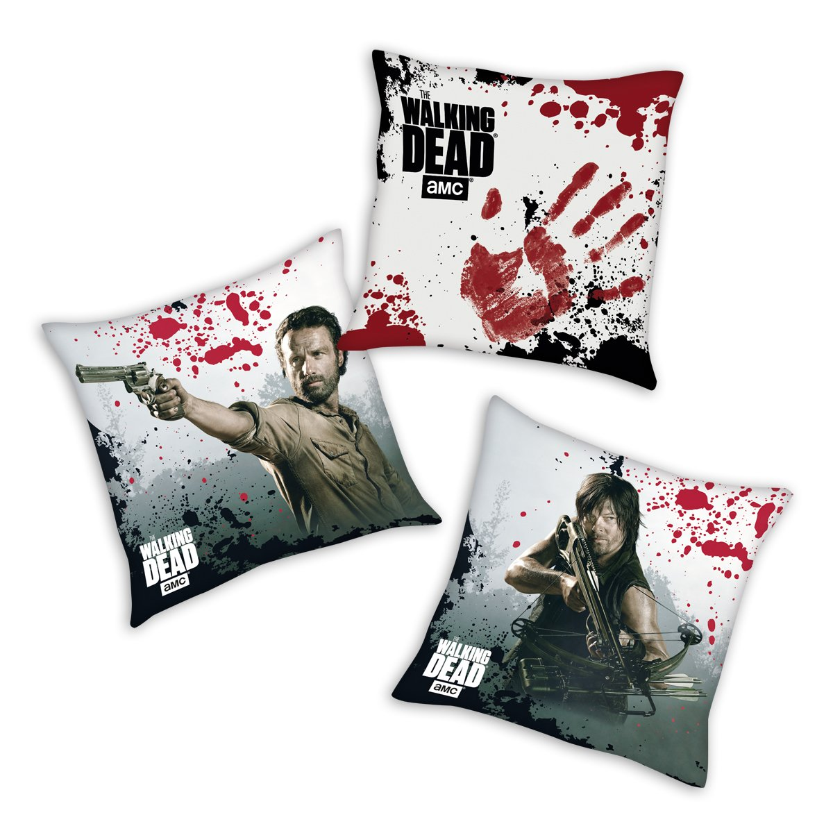 The Walking Dead Decorative Pillows 3-pc Set - Rick, Daryl, Bloody
