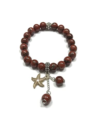 Amazon com: Natural Red Jasper Stretch Bracelet with Sea