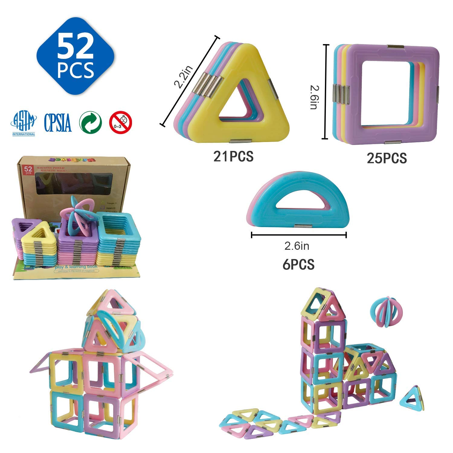3D Magnetic Tiles 52 Pieces Set for Toddlers Kids Magnetic Building Blocks with Candy Color Educational Toys TUOXIANG Magnetic Blocks