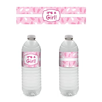 Amazon.com: It's A Girl Baby Shower Party Water Bottle Sticker ...
