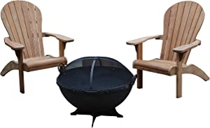 TITAN GREAT OUTDOORS Grade A Teak Adirondack Chairs and 32 in Hemisphere Fire Pit