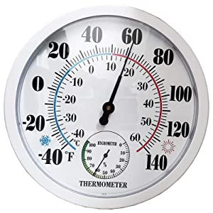 Indoor Outdoor Thermometer Large Wall Thermometer-Hygrometer Waterproof Does not Require Battery (White)