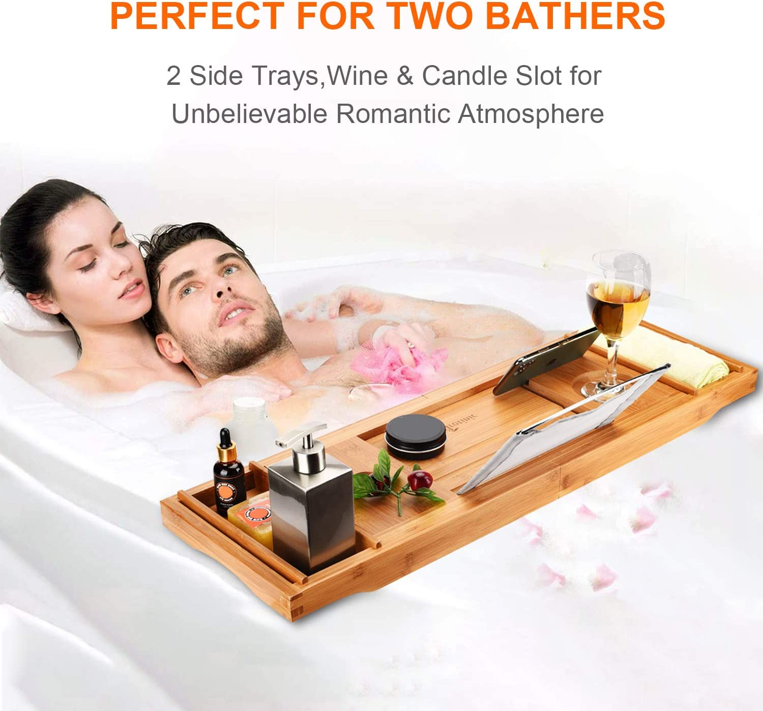 Trotinic Bathtub Tray,Luxury Bath Caddy Tray for tub with Nonslip Bottom /& Extendable Sides for one or Two Person Bath and Bed,Bonus Free Soap Holder Natural Bamboo Color