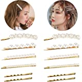 Pearl Hair Pins for Women Girls, Funtopia 12pcs Fashion Sweet Artificial Pearl Hair Clips Bobby Pins Decorative Hair Accessories for Wedding, Party and Daily Wearing