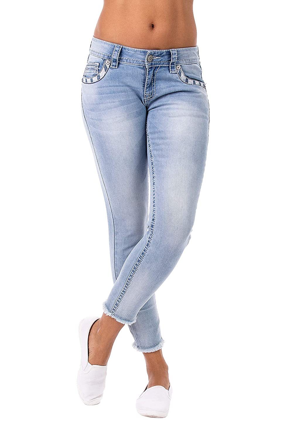 Damen Mary 10009 Cropped Skinny Low Rise Jeans Blue Monkey