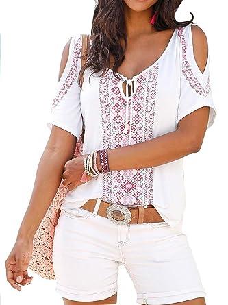 Jusfitsu Damen Sommer Shirt Kurzarm Schulterfrei Casual Tunika T-Shirt Tops  Oberteil  Amazon.de  Bekleidung 9ff13b8a81