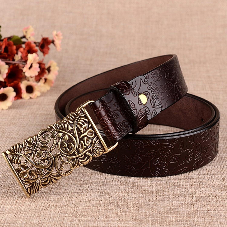 Fashion Women PU Leather Belts Vintage Belt Metal Carved Buckle Belts