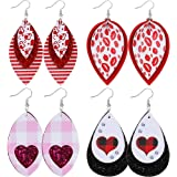 LANTAI 9 Pairs Glitter 3 Layered Lightweight Sequined Faux Leather Leaf Earrings Red Plaid Leopard Stripe Dangle Drop Earring Set for Women Girls Valentines Earrings Gift