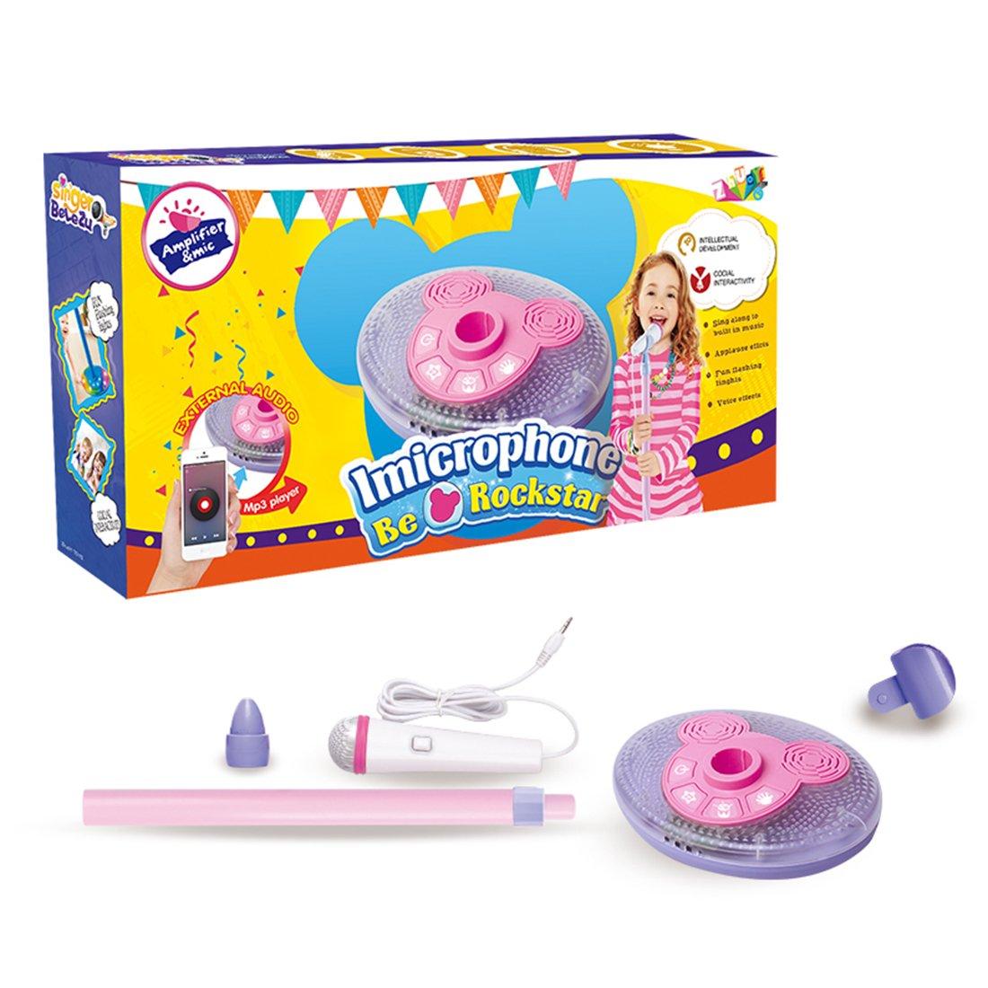 YuHuaFUShi Kids Karaoke Machine, Microphone with Adjustable Stand Singing Karaoke Machine for Toddler Girls (Pink) by YuHuaFUShi (Image #3)