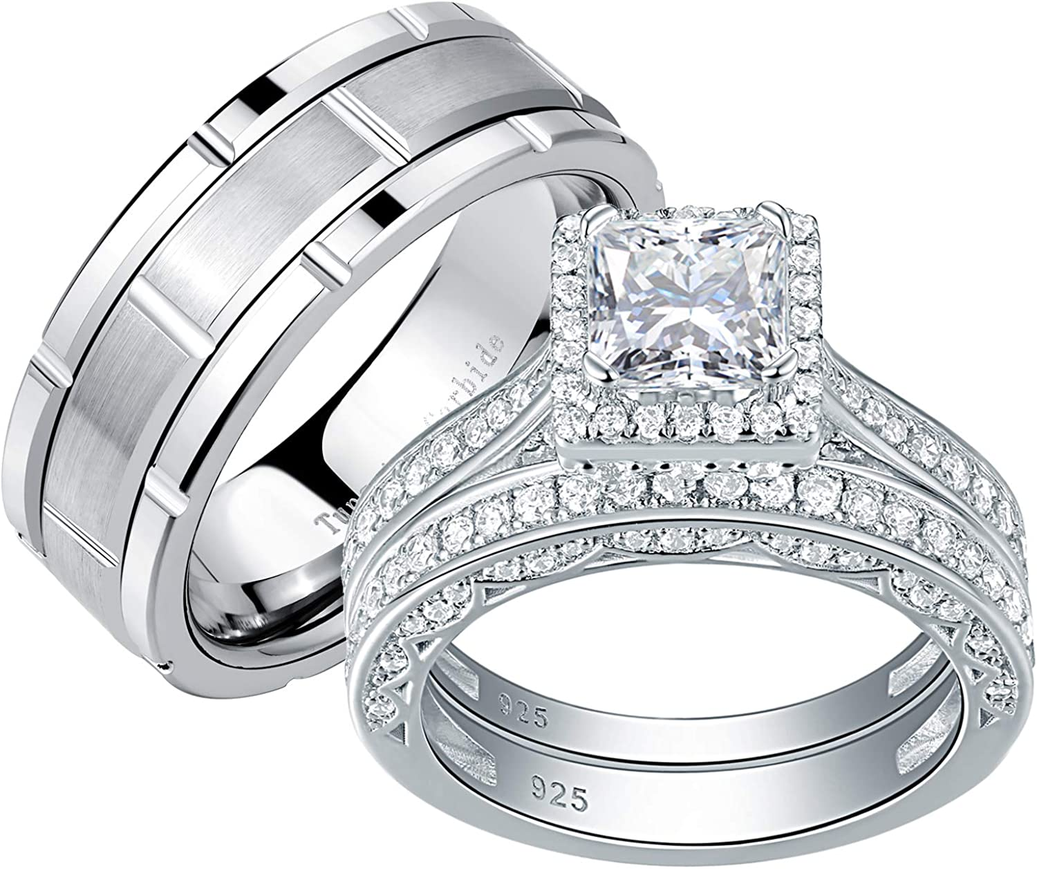 Amazon.com: Newshe Wedding Rings Set for Him and Her Women Mens Tungsten  Bands Sterling Silver Princess Cz 10&10: Jewelry