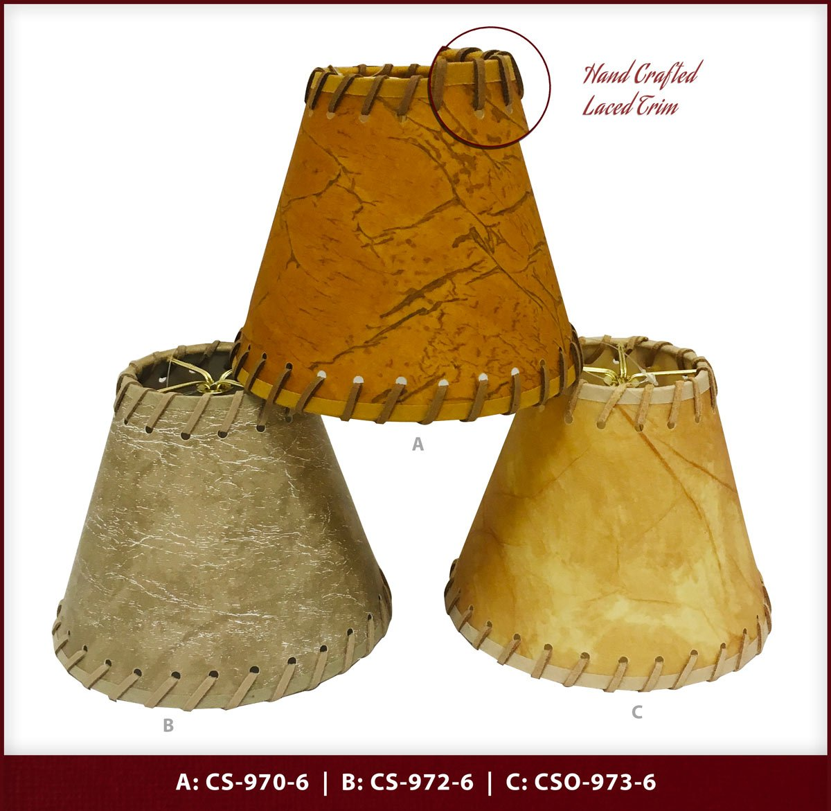 Royal Designs CS-972-6 Faux 2-Tone Leather Chandelier Lamp Shade With Lace, Light Brown